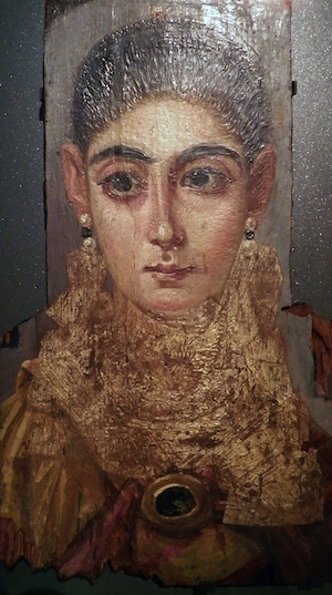 Fayum Funeral Portrait, Mummy Portrait of a Woman, Antinoopolis, End of the Reign of Trajan, 98-117 A.D., Wax portrait on woo